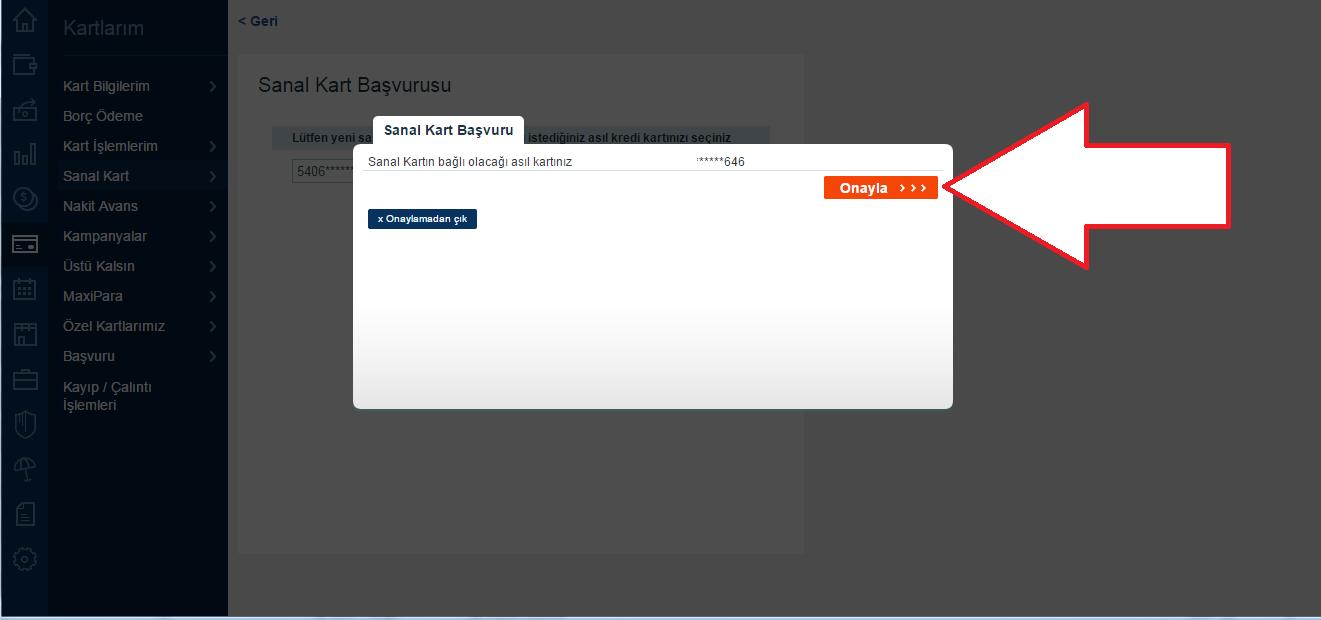 İş bankası sanal kart oluşturma dördüncü adım