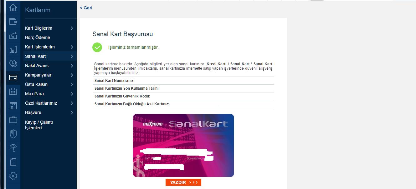 İş bankası sanal kart oluşturma son adım