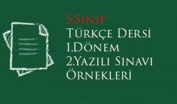 5.Sınıf Türkçe 1.Dönem 2.Yazılı Soruları
