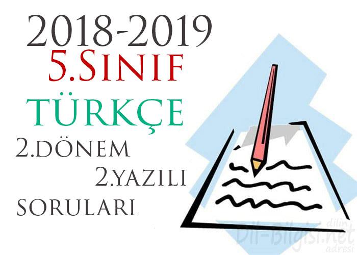 5.Sınıf Türkçe 2.Dönem 2.Yazılı Örneği