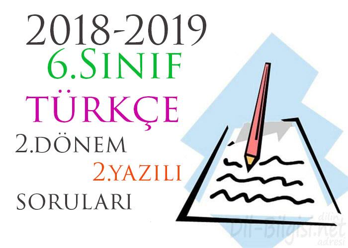 6.Sınıf Türkçe 2.Dönem 2.Yazılı Örneği