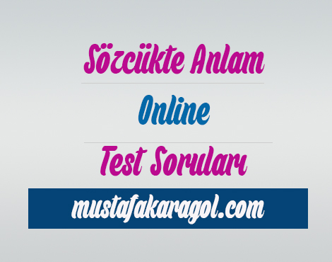 Sözcükte Anlam Online Testi