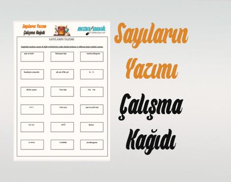 Sayilarin Yazimi Calisma Kagidi Mustafa Karagol