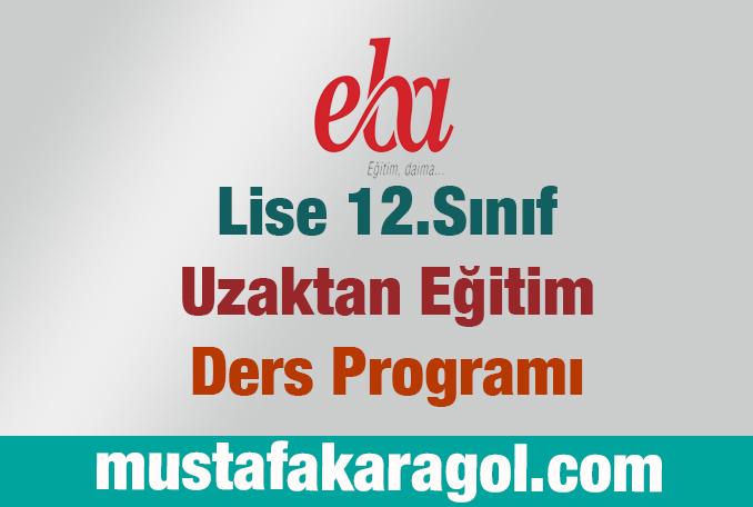 Lise 12 Ders Programı