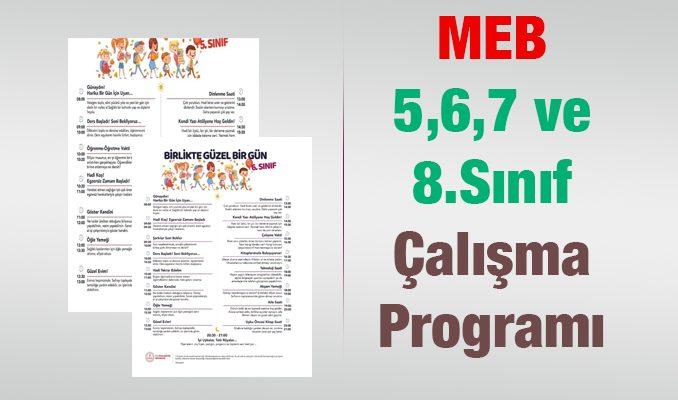 MEB Ortaokul(5,6,7 VE 8.Sınıf) Çalışma Programı