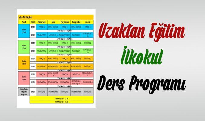 TRT ve EBA İlkokul Uzaktan Eğitim Ders Programı
