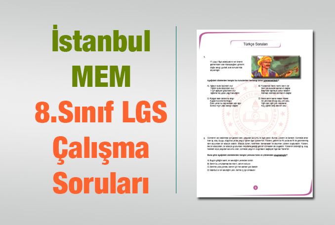 LGS 8.Sınıf İstanbul MEM Çalışma Soruları