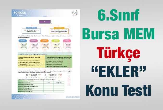 Bursa MEM Ekler 6.Sınıf Test
