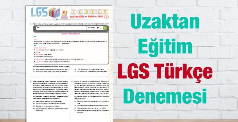 8.Sınıf Türkçe Zümresi Türkçe Deneme Sınavı